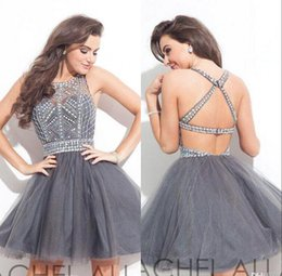 Barato Vestido Cinzento Junior-Sexy Grey Homecoming Vestidos para Juniors Corset Backs Backless Crystal Beads Tulle Mini Short Cocktail Dresses Prom Party Gowns