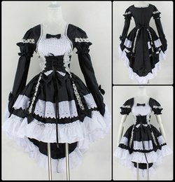 Robe De Bal D'anime Cosplay Pas Cher-Balle gros-New Fashion Gothic Pucelle Cosplay Costume Party Halloween Anime robe Vintage bowknot Robes Femmes Lolita Free Ship