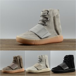 Barato Sapatos De Esporte Velcro-2017 Adidas Originals Yeezy Boost 750 sapatos de corrida 4 cores Fashion Ankle Boost MenWomen High Shoes Wrap Sneakers Sport Shoes US 5-11.5