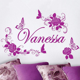 Free Shipping Home Decoration Personalized Custom Name Flower And Butterfly  Beauty Wall Sticker Girls Bedroom Art Decor Part 56
