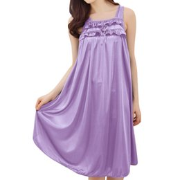 Chinese  Wholesale- Wholesale Nightgowns for Women 2017 Summer Ice Silk Sexy Nightdress Clothing Home Wear Comfortable Spaghetti Strap Sleepshirts manufacturers