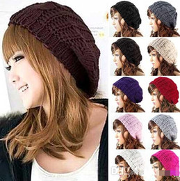 China 2016 New Arrivals Fashion Women's Girl's Warm Knitted Hats Caps Baggy Beret Chunky Cotton Wool Braided Beanie Free Shipping supplier arrival berets hats suppliers
