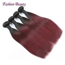 18 Inch Hair Length Straight NZ - Ombre Brazilian Hair Weave T1b burgundy Straight 12-24inch Mix length Human Hair Extensions Cheap Two Tone Brazilian Indian Malaysian Hair