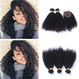 brazilian human hair for weaving Australia - Afro Kinky Curly Hair Bundles With Lace Closure 4x4 Brazilian Human Hair Extensions With Top Lace Closure Pieces For Black Woman