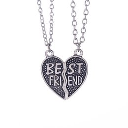 Wholesale BFF Best Friend Broken Heart Necklaces Ancient Silver Heart Joint necklaces Pendants for Women Fashion jewelry DROP SHIP