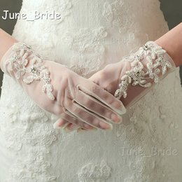 $enCountryForm.capitalKeyWord NZ - New Style Delicate Lace Beaded Bridal Gloves Short Wrist Full Finger Light Ivory Tulle High Quality Wedding Party Accessory Free Shipping