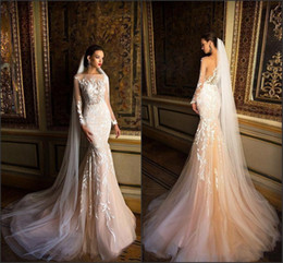 sexy beach lace wedding dresses mermaid 2019 - 2018 Berta Mermaid Vintage Wedding Dresses Illusion Long Sleeve with Covered Buttons Back Summer Beach Bridal Gowns Coun
