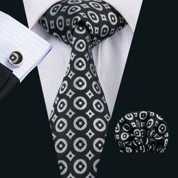 Woven Silk Ties Cufflinks Australia - Classic Silk Mens Neck Ties Black Men Ties Dot Tie Sets Tie Hankerchief Cufflinks Sets Jacquard Woven Meeting Business Wedding Party N-1529