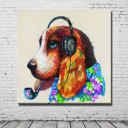 $enCountryForm.capitalKeyWord NZ - Wall Design Dog Head Oil Painting Canvas Art Pictures for Bedroom Decoration Hand Painted Oil Painting Decorative Pictures No Framed