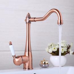 Wholesale  Kitchen Faucets Swivel Antique Copper Deck Mounted Mixer Tap Bathroom  Faucet Basin Mixer Hot Cold Tap Faucet
