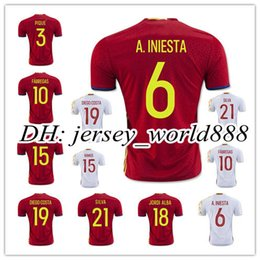 top thai quality 2016 spain home red soccer jersey 16 17 isillas fabregas isco
