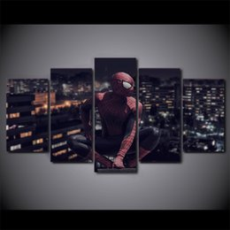 spiderman spray Canada - 5 Pcs Set Framed HD Printed Spiderman Movie Canvas Poster Picture Home Decor Decorative Wall Art Oil Painting