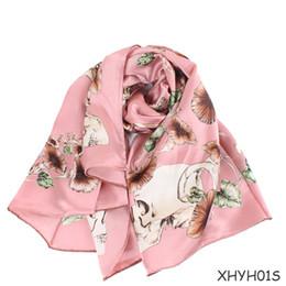 Soft Silk Scarf blue online shopping - New Ladies Silk Scarf Fashion Print Blanket Scarves Pashmina Shawl Winter Autumn Soft Wrap Neckerchief Square Scarfs for Women cm