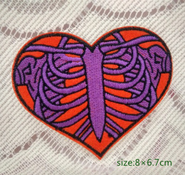 Heart Skeleton Rib Cage Halloween Applique Iron On Patch Punk Gift Undead Decorate Individuality shirt bag cao coat