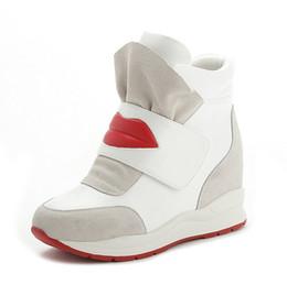 Hidden Heel Shoes For Women Canada - Black White Free Shipping Hidden Wedge Heels Fashion Women's Elevator Shoes Casual Shoes For Women wedge heel Red Big Lips 2016