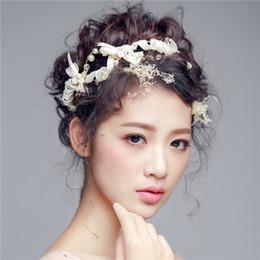 Headbands Bow Australia - Wedding Bridal Bow Headband Flower Pearl Alloy Crown 2018 Romantic Bow Pearl Hairbands Bridal Tiaras Handmade Bridal Hair band Accessories