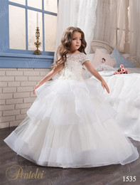 $enCountryForm.capitalKeyWord NZ - Mother Daughter Dresses with Cap Sleeves and Tiered Skirt Pentelei Lace & Organza Princess Flower Girls Gowns for Weddings