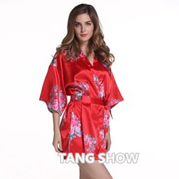 78f94c494b Wholesale- Red Plus Size Chinese Women s Satin Nightgown Short Robe Gown  New Style Kimono Bathrobe Sexy Floral Night Dress Sleepwear M48