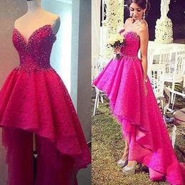 evening dress fuchsia Canada - Gorgeous 2019 Fuchsia Lace Hi Lo Prom Dresses Sweetheart Neck Exquisite Pearls Beaded Asymmetrical Formal Evening Party Gown Vestido