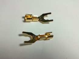 speaker spades NZ - 10pcs Copper Speaker Cable Spade Connector Terminal Plug Gold plated
