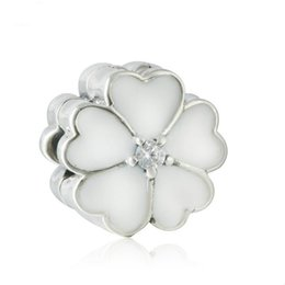 sterling silver european stoppers UK - 2017 Summer New White Enamel Primrose Clip Charms Beads 925 Sterling Silver Crystal Flower Stopper Fit European Women Bracelets Diy Making