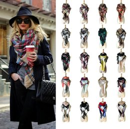 Fashion Scarves Canada - Women Plaid Triangle Scarves Grid Tassel Wrap Oversized Check Shawl Tartan Cashmere Scarf Winter Neckerchief Lattice Blankets Fashion