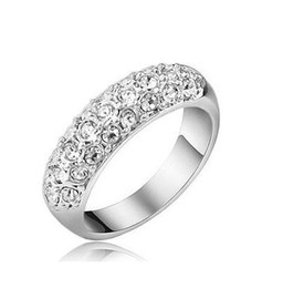 66767edf7d238c Fashion 18K Gold Silver Plated Wedding Rings Austrian Crystal Ring for  Women Made With Swarovski Elements Wedding Finger Rings Nice Gift