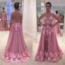 Covered button Celebrity dresses online shopping - 2018 Prom Party Dresses Vestido De Noche Manga Larga Largo Sexy See Through Long Sleeve Elegant Celebrity Evening Dresses