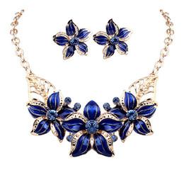 Hot Seling 18 K chapado en oro flor de esmalte de cristal austriaco Sistemas de la joyería de moda collar y pendiente africanos para mujeres DHW254 en venta