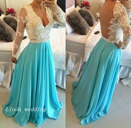 $enCountryForm.capitalKeyWord Canada - 2019 Turquoise Colour Prom Dress High Quality Elegant V-neck Lace Long Sleeve Formal Occasions Party Gown