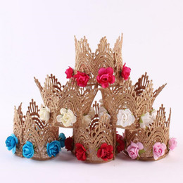 China Fashion Flowers Print Headband Lace Crown Kids Lace Crown Hair Band Baby Girls Head Wraps Hair Accessories cheap wholesale girls head flowers suppliers
