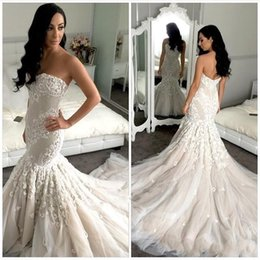 2016 Berta Bridal Mermaid Full Wedding Dresses Appliques Chapel Train Sweetheart Fashion Tulle Lace Low Back White Ivory