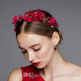 Red Roses For Hair NZ - Vintage Red Flower Hair Accessories Wedding Hair Accessories For Brides Rose Headpiece Handmade Wholesale Brides Head Piece