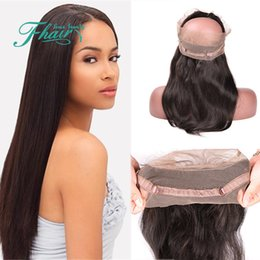"Malaysian Straight Hair 22 Inches Canada - 100%Unprocessed Lace Band 360 Frontal Virgin Human 9A Malaysian Hair Straight Natural Color 8""-22"" Inch Bleached Knots Free Shipping By DHL"