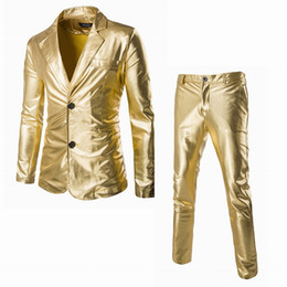 latest suit dress men UK - Wholesale- Blazer Mens Slim Fit Suits with Pants Wedding Groom Latest Coat Design Mens Stage Wear Dress Suits Gold Blazer for Men Singers