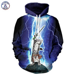 Capuchon Pas Cher-Hip Hop Hot Marque Marque Vêtements Hommes / Femmes Hoodies Cap À Capuche 3d Hommes Sweat Imprimer Chat Lightning Miaou Star People Hoody