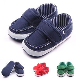 Barato Bebê Macio E Solteiro-Baby Mocassins Shoes Handmade Big HookLoop Lace Antiderrapante Superior Soft Cotton Fabric Sole Sapatos infantis Atacado