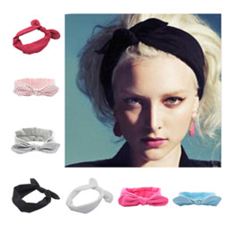 Wholesale Women Yoga Bow Hairband Turban Hairwear Knotted Rabbit Hair Band Headband Easy R48