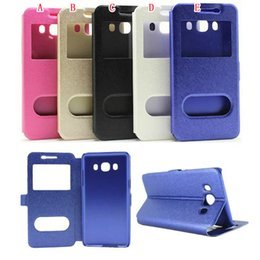 Luxury Display Cases Canada - Open Window Wallet Leather Pouch Case Silk Caller ID Display Stand For Samsung Galaxy A7 2017 A810 J710 J510 Iphone SE 5 5S Cover Bag Luxury