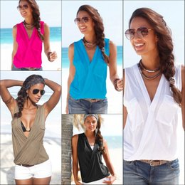 $enCountryForm.capitalKeyWord Canada - 2016 New Fashion Casual Women Deep V Neck Sleeveless T Shirt Women Summer Style t shirt Tops Tees for Lady Blouse 5 Colors WY6955 50Pcs