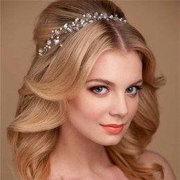 Discount garland crown - Wedding Bridal Bridesmaid Handmade colored crystal Pearl Garland Crown Wedding Headdress Hair Band Bridal Hair Jewelry A