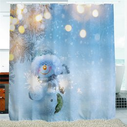 $enCountryForm.capitalKeyWord UK - 2016 Waterproof Christmas Fireworks Snowman Polyester Shower Curtain Bath Bathing Sheer Curtain for Home Store School Decorations
