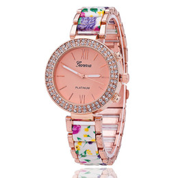 latest fashion ladies watches UK - Latest Geneva double row diamond imitation ceramic alloy watch Geneva printing lady watch foreign trade