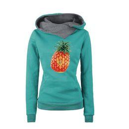 2017 New Women Autumn Winter Pineapple Montenegro Print Fashion Tops Female Lapel Hoodie