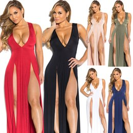 065d58ccf4a0 Sexy Deep V Neck Backless Maxi Dress 2 High Splits Dress Red Jersey Floor  Length Open Back Night Club Evening Party Dress
