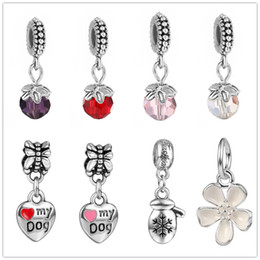 China 5mm Wholesale Mixed Colors Rhinestone Crystal Tibetan Silver flower Heart European Big Hole Spacer Charms Pendant For Bracelet suppliers