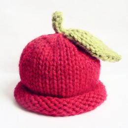 Handmade Kids Summer Hats Australia - Adorable Red Little Apple Hat,Handmade Knit Crochet Baby Boy Girl Fruit Beanie Cap,Kids Spring Winter Hat,Infant Newborn Photo Prop
