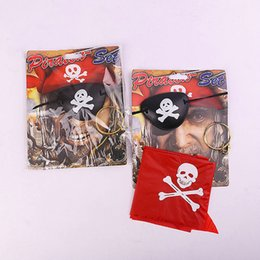 Accessoires De Costumes De Pirate Pas Cher-Halloween Party Decoration Props 3Pcs Pirate Sets Blinkers Black Redband Earrings Costume Dress Up Proms Suit Kit Accessoires Halloween