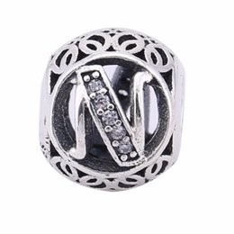 Wholesale Popular Real Sterling Silver Letter N Beads Charms Fit European Bracelets Snake Chain Europe Fashion Silver Beads DIY Jewelry