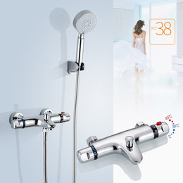 Contemporary Metal Wall Australia - Wall Mount Thermostatic Shower Faucet Mixers Chrome Dual Handle Bathroom Hand Held Bath Shower Taps